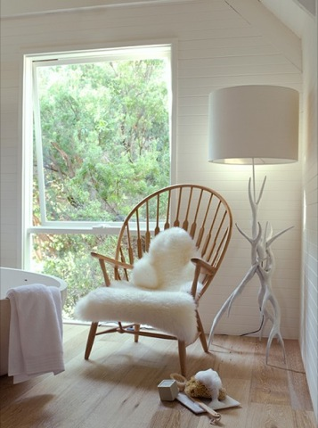 Hans Wegner chair w sheep skin ---- Maikka Trupp photo
