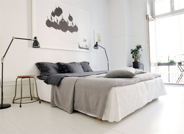white floors bedroom