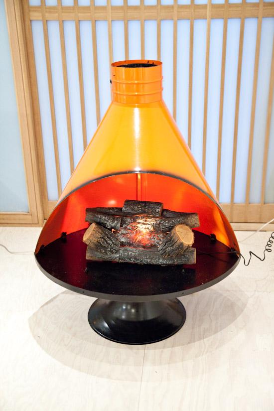 Vintage pedestal fireplace find at KITKA design toronto